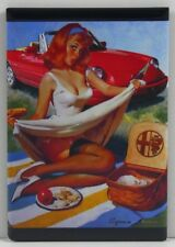 "Alfa Romeo Sexy Pinup Girl 2"" X 3"" Fridge Magnet. Vintage Car Advertising"
