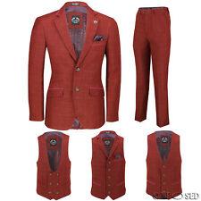 Mens Maroon Tweed Check 3 Piece Suit Sold Separately - Blazer Trouser Waistcoat