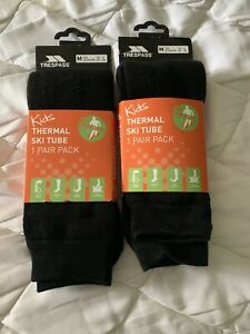 Trespass Kids Thermal Ski Tube Socks Size 12-3 New
