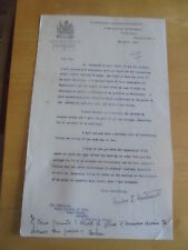 1939 SIR MILES EWART MITCHELL  TOWN CLERKS DEPT   MANCHESTER SIGNED LETTER