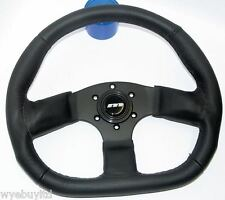 350mm M range corsa D flat bottom leather black racing sports steering wheel