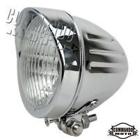 "Old School 4.5"" Headlights H4 12V Halogen Bulb Chrome For Harley Bobber Chopper"