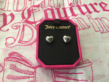 NWT Juicy Couture Sm SILVER PUFFED HEART & CROWN STUDS Earrings Free Ship $42