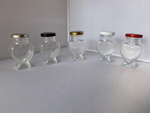WEDDING  SMALL HEART GLASS JAM JARS HONEY PRESERVE CANDLE X 24 106ml.
