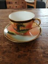 Vintage Noritake antique hand painted / gilded decorative cup and saucer set