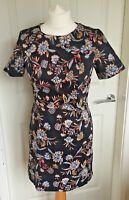 Ladies New Look Black Floral Short Sleeve Dress Summer Party Dress Size 10 B41