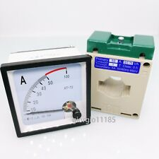 US Stock AC 0 ~ 50A Analog AMP Current Panel Meter Ammeter & Current Transformer