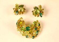 tone Abstract Brooch Clip Earrings Set Vintage Juliana Ab Rhinestone Green Gold