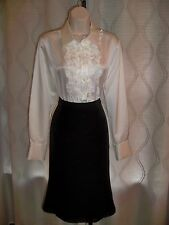 DONCASTER BLACK TAILORED RUNWAY CHIC STRETCH LACE BOTTOM SKIRT 4 NWT $210 2DIE4