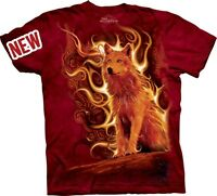Phoenix Wolf T-Shirt by The Mountain. Spirit Wolf Fire Rebirth Sizes S-5XL NEW