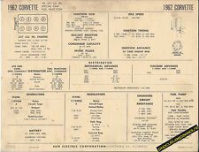 1962 CHEVROLET CORVETTE V8 327 ci FUEL INJECTION Car SUN ELECTRONIC SPEC SHEET