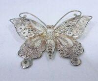 Vintage Filigree Sterling Silver Butterfly Brooch Pin JP