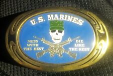 Best Die Like the Rest Brass Belt Buckle Vtg 1983 Nap Inc Us Marines Mess w/ the