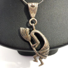 Vintage Navajo Kokopelli Flute Sterling Silver 925 Necklace Pendant 13g A49