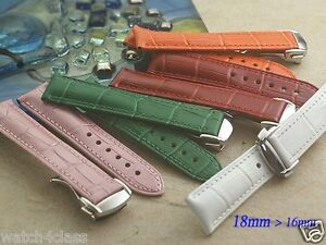Genuine Leather Band Strap Bracelet compatible with OMEGA 18mm x16mm w/ buckle