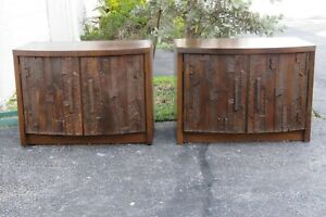 Lane Brutalist Mid Century Pair of Large Nightstands Side Tables Commodes 2466