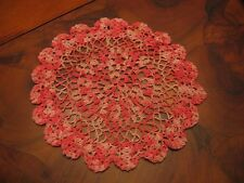 Nice Vintage Hand Crochet Round Scalloped Pink Doily Or Scarve