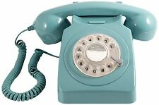 ProTelX GPO 746 Retro Blue Telephone 60's 70's British Rotary Dial Handest Phone