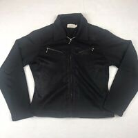 Guess Black Zip Crop Jacket Women's Size Large EUC Stylish Flattering