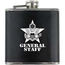 General Staff US Army Veteran Soldier Groomsman Gift Leather Wrapped Flask