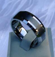 WOLFRAM/TUNGSTEN CARBIDE RING - 8 MM BREIT -  GEBÜRSTET - TITAN HART- (218)