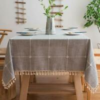 Gray Stitch Tassel Tablecloth Kitchen Dinning Tabletop Decor Cotton Table Cover