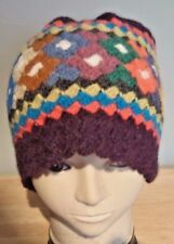 ALPACA & WOOL CROCHETED BEANIE HAT ~ PURPLE & MULTI COLOUR * Soft & Warm