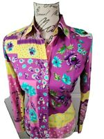 Etro Milano Fitted Pastel Floral Button Down Shirt Blouse Size 40 Italy