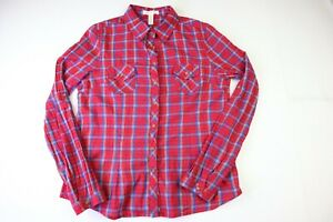 Ambiance Apparel Women's Medium Long Sleeve Button Up Plaid Blouse -Red/Blue