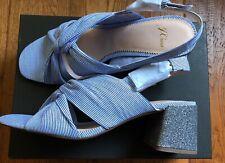 J. Crew Women's Twisted-Knot Penny Sandals in Stripe w/ Glitter Heel - Size 9