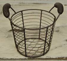 Primitive Rusty Chicken Wire Egg Gathering Basket / Pail / Farmhouse