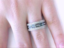 David Yurman Armory Sterling Silver Pavé Clear Diamonds 9mm Wide Band Ring 10 US