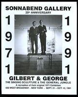 1991 Gilbert & George Singing Sculpture photo NYC art gallery vintage print ad