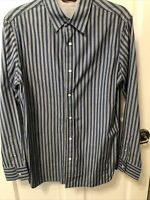 Mens Banana Republic Striped Blue Long Sleeve Casual Button Down - S Slim Fit