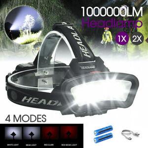1000000LM COB+LED Headlamp Headlight Torch USB Rechargeable Flashlight Work 1/2X