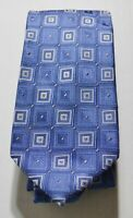 MICHAEL MICHAEL KORS Blue Gray Silver Squares Geometric Print 100% Silk Neck Tie