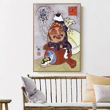 Art Silk Canvas Ukiyoe Tattoo Cat Japan Paint Poster Asian Decor Unframed S665