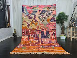 "Handmade Boujad Moroccan Tribal Rug 5'6""x9'2"" Patchwork Colorful Berber Wool Rug"