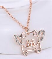 """""""When Pigs Fly"""" Alloy Rhinestone Pendant Necklace w/Free Jewelry Box/Shipping"""
