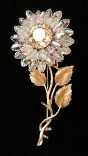 Vintage VENDOME Large Aurora Borealis Flower Gold Tone Pin Brooch w Unique Stamp