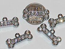 2pc miniature Crystal Dog bone Pendants Pet Collar charms Dog Cat Tags 20x6mm