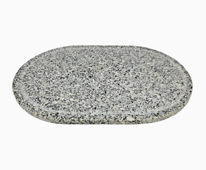 """Granite Stone Cutting Board Oval Polished Top With Juice Drip Groove 16"""""""