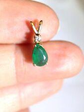 14K Yellow Gold Dark Emerald and Diamond Pendant