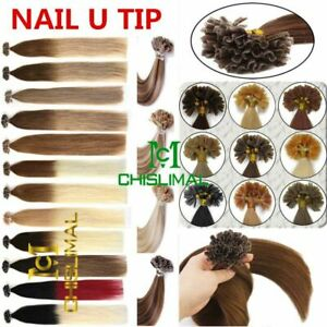 50S U/Nail Fusion Keratin Tip 16-22Inch Thick Ombre Remy Human Hair Extensions