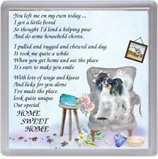 """Papillon (Butterfly) Dog Coaster """"HOME SWEET HOME Poem ...."""" by Starprint"""