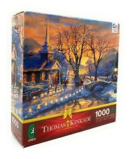 Thomas Kinkade 1000 Piece Ceaco Jigsaw Puzzle, Holiday Evening Sleigh Ride