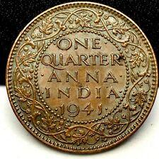 INDIA -BRITISH,1941, 1/4 ANNA, BRONZE COIN,  GEORGE VI .KM # 531