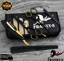 Franky Black Gold Hairdressing Scissors Barber Cutting Thinning 5.5 Inch set/kit