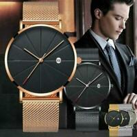 Trendy Men Ultra-Thin Minimalist Watch Slim Steel Strap Stainless-Steel Quartz s