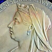 1897🔹️Large Silver Medal Coin Veiled Queen Victoria Diamond Jubilee c)